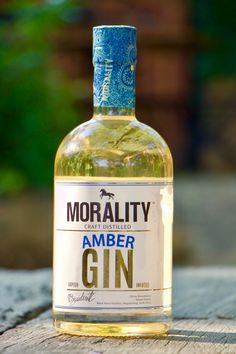 A bottle of handcrafted Morality Amber Gin by Black Horse Distillery Gin, Morality, Distillery, Vodka Bottle, Amber, Horse, Drinks, Crafts, Black