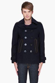 DIESEL Navy Leather Trim Wudy Jacket