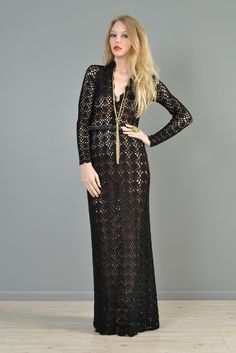 Black 1970s Hand Crocheted Plunging Maxi Gown | BUSTOWN MODERN