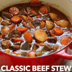 Beef Stew with Melt-In-Your-Mouth Tender morsels of beef. This is loaded with be… Beef Stew with Melt-In-Your-Mouth Tender morsels of beef. This is loaded with beef, potatoes, carrots and mushrooms in a rich beef and wine broth. Slow Cooker Beef, Slow Cooker Recipes, Crockpot Recipes, Cooking Recipes, Beef Bourguignon Slow Cooker, Dinner Crockpot, Top Recipes, Healthy Recipes, Meat Recipes