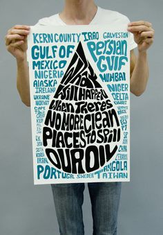This Poster is about an oil spill charity and plays on colour to distinguish the oil spill into the water Cool Typography, Typography Letters, Typography Design, Protest Posters, Protest Signs, Charity Poster, Different Lettering, Water Poster, Graphic Design Inspiration