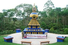 In front of the Kalachakra Peace Stupa at Crystal Castle, Mullumbimby, NSW