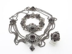Bohemian Garnet & 835 Silver Jewelry Set - Necklace, Bracelet, Ring Size 5 1/2 - Victorian Antique Parure Set - Red Garnets and Seed Pearls at VintageArtAndCraft