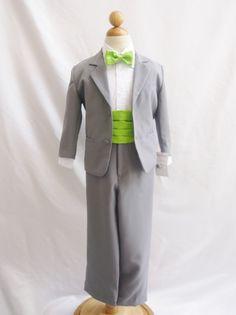 Gray silver formal suit  toddler teen boy for wedding party ring bearer recital #GrayFormalTuxedoSuitcolorbandandbowtie