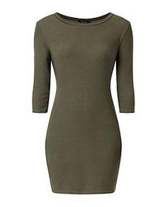Khaki Ribbed 3/4 Sleeve Mini Dress  | New Look