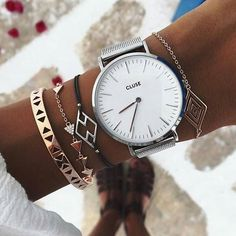CLUSE La Bohème Mesh Silver/White - I love the triangle bracelets Cluse Watch, Jewelry Accessories, Fashion Accessories, Beautiful Watches, Cool Watches, Fashion Watches, Bracelet Watch, Mesh Bracelet, Jewelry Watches