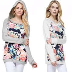 The EVIE Neon Floral Contrast Hoodie - H. GREY Neon Floral Print Contrast Long Sleeves Hoodie. ONLY AVAILABLE ON H. GREY. NO TRADE, PRICE FIRM Tops Sweatshirts & Hoodies