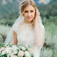 Modest wedding dress with cap sleeves from alta moda. -- (modest bridal gown) . Photo by Alyssia Baird