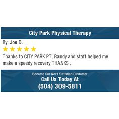 Thanks to CITY PARK PT, Randy and staff helped me make a speedy recovery THANKS .