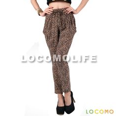 Women Brown Leopard Baggy Harem Pant Loose Legging 09