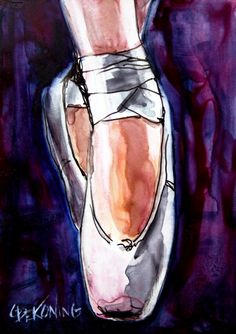 watercolor painting of pointe shoes