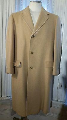 Vintage Filene's 100% Camel Hair Long Overcoat Topcoat Fancy Stiching jacket M L