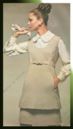 Vintage 1968 McCall's New York Designers' Collection Plus sewing pattern N/1058. Designer: Geoffrey Beene. Misses Tunic Dress or Jumper, Blouse and Skirt.