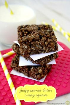 Clean Eating Fudgy Peanut Butter Protein Crispy Squares...made with clean ingredients and they're vegan, gluten-free, dairy-free, no-bake and contain no refined sugar