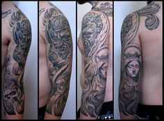 tattoos by Carl Löfqvist 3/4 sleeve I made a year ago......