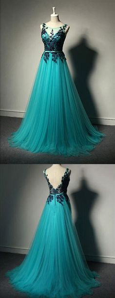 Cheap Easy Prom Dresses For Teens New Fashion Blue Tulle Formal Gown,Lace Black Evening Gowns,Tulle Formal Gown For Teens Backless Prom Dresses, Black Prom Dresses, Tulle Prom Dress, Homecoming Dresses, Dress Up, Dress Lace, Cool Dresses, Pretty Dresses For Teens, Open Dress