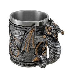 "Steampunk Mechanical Silver Dragon Coffee Mug Stainless Steel Cup 4 1/8"" H SU-66"
