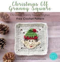 Christmas Elf Granny Square | Free Crochet Pattern | Part of the Christmas Granny Square Afghan | Elf Applique sewed onto a Solid Granny Square | Maria's Blue Crayon