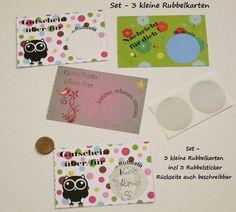 Set 3 Minikarten mit Rubbelaufkleber - Gutscheine von ღKreawusel-Designღ auf DaWanda.com