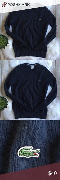 Lacoste | Navy V-Neck Sweater Lacoste Navy V-Neck Sweater! Can be women's or men's! Super nice! Excellent condition, 100% cotton! Measurements: Bust: 19in Length: 24in. Would fit S/M in women's. Offers welcome! Lacoste Sweaters V-Necks