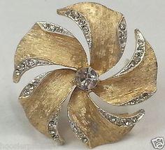 Gold tone clear stone rhinestone flower spiral vintage antique