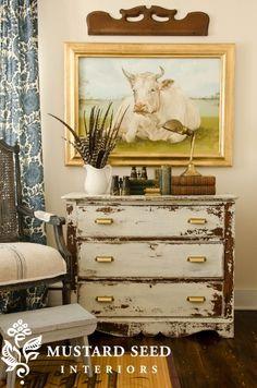 Miss Mustard Seeds Milk Paint in Linen. Fun and eclectic! Her Cow Painting is to die for I'm loving it Distressed Furniture, Shabby Chic Furniture, Shabby Chic Decor, Distressed Dresser, Funky Furniture, Cheap Furniture, Rustic Dresser, Furniture Websites, Furniture Market