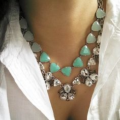 A classic white button down shirt,  sparkle and some aqua to brighten up this rainy day. Somervell Necklace in aqua and Lila necklace together!