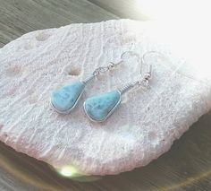 Dominican Blue Larimar Wire Wrapped Dangle by MyBeachStore on Etsy