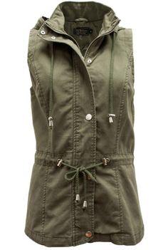 Hooded Sleeveless Olive Vest