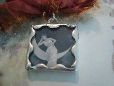 Crescent Moon  Soldered Art Glass Pendant or by victoriacharlotte, $8.00
