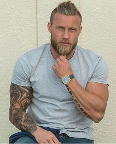With muscles tattoos Men beards and
