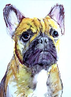 French bulldog painting art print yellow ochre, midnight purple, French bulldog gift idea, frog……: French bulldog… #dogs #pets #puppy