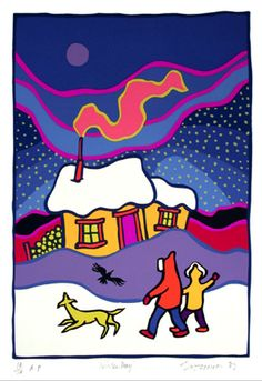 Winter Day by Ted Harrison.  We had this print in our kitchen growing up.