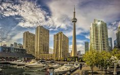 Download wallpapers CN Tower, Toronto, Harbourfront, skyscrapers, spring, cityscape, Ontario, Canada