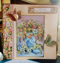 "Greeting Card (16) - 8"" x 8"" Birthday Card. from Hunkydory 'Step Into Springtime' Collection & Butterflies from 'Flight of the Butterflies' Collection"