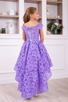 Purple party dress Vintage purple dress for you girl girls Girls Fancy Dresses, Cute Dresses For Party, Baby Girl Party Dresses, Frocks For Girls, Little Girl Dresses, Pretty Dresses, Flower Girl Dresses, Bohemian Flower Girl Dress, Purple Party Dress