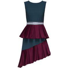 LATTORI Belted Asymmetric Sleveless Ruffled Dress