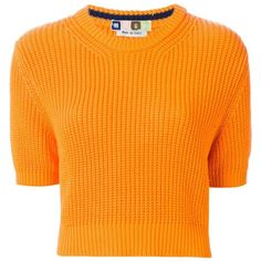 MSGM Cropped Sweater ($115) ❤ liked on Polyvore featuring tops, sweaters, blusas, crop top, orange crop top, cropped sweater, orange sweater and orange top