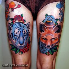 Jiim Sylvia traditional tiger and fox tattoo. same placement, but a fox and a panther instead, in portrait frames. Tattoo Girls, Girl Tattoos, Tattoos For Guys, Tatoos, Leg Tattoos, Small Tattoos, Traditional Thigh Tattoo, Fuchs Tattoo, Fox Tattoo
