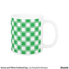 Green and White Outlined Squares Coffee Mug