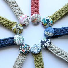 Crochet bracelets with fabric covered button  Could be a belt for American Girl