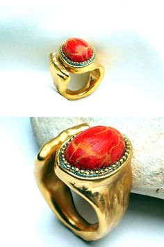 Red coral stone ring 24k gold plated ring by IlanaArtisticJewelry