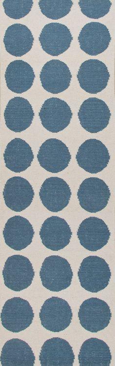 Jaipur Rugs RUG102575 Flat-Weave Geometric Pattern Wool Blue/Ivory Area Rug ( 2.6x8 )