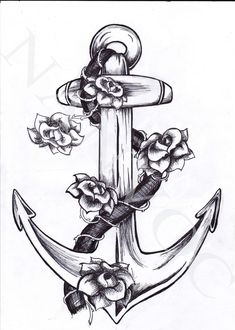 Anchor tattoo - Back of neck
