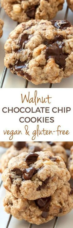 These vegan and gluten-free walnut chocolate chip cookies are soft, chewy and made with a healthy amount of walnut butter. They're also made with oats and oat flour, making them whole grain! vegan and gluten-free walnut chocolate chip cookies are soft Healthy Vegan Dessert, Vegan Dessert Recipes, Vegan Treats, Healthy Sweets, Vegan Foods, Dairy Free Recipes, Delicious Desserts, Cookies Vegan, Healthy Cookies