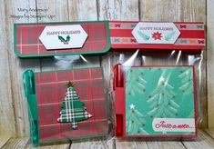 Perfectly Plaid posit note holder Stampin Up Christmas, Christmas Crafts, Post It Note Holders, Happy Holidays, Catalog, Boxes, Plaid, Craft Ideas, Tags