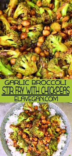 Flavorful broccoli stir fry with chickpeas and a delicious garlic ginger sauce! This vegan weeknight Flavorful broccoli stir fry with chickpeas and a delicious garlic ginger sauce! This vegan weeknight Vegetarian Stir Fry, Tasty Vegetarian Recipes, Vegan Dinner Recipes, Vegan Dinners, Whole Food Recipes, Yummy Veggie, Vegan Recipes Summer, Simple Vegan Meals, Simple Recipes For Dinner