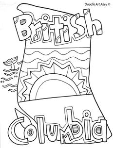 British Columbia Coloring Doodle Page