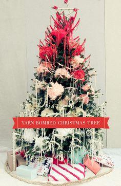 DIY Yarn Bombed Christmas Tree - Using The Famous Sixty Second Pom Pom