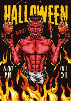 Colorful vector poster with Devil. 44 Halloween t-shirt designs is a new collection of vector illustrations with editable text (Adobe illustrator required) from DGIM Studio.